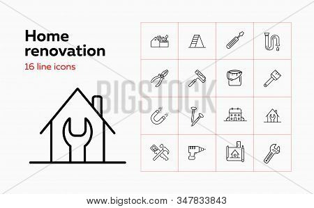 Home Renovation Line Icon Set. Tool Box, Painting Roller, House. Construction Concept. Can Be Used F