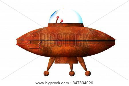 Cartoon 3d Old Ufo. Rusty Spaceship Isolated On White Background. Aliens Futuristic Orange Spacecraf