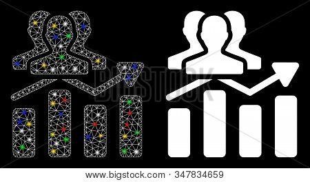 Flare Mesh Audience Chart Trend Icon With Sparkle Effect. Abstract Illuminated Model Of Audience Cha