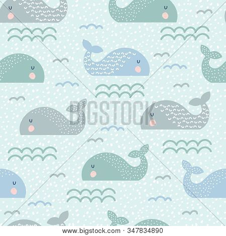 Seamless Childish Pattern With Cute Whales And Hand Drawn Textures