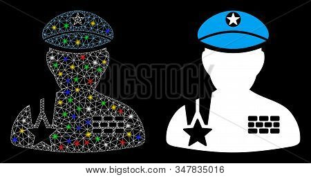 Glowing Mesh Army General Icon With Glare Effect. Abstract Illuminated Model Of Army General. Shiny