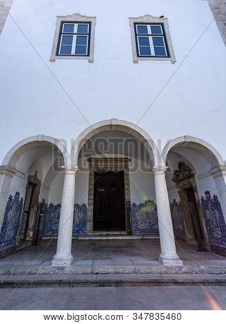 Lisbon - August 28, 2019: View Of The Entrance Atrium Of The Covent Of Sao Pedro De Alcantara Decora