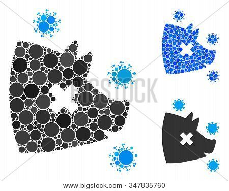 Swine Flu Composition Of Filled Circles In Different Sizes And Color Tones, Based On Swine Flu Icon.