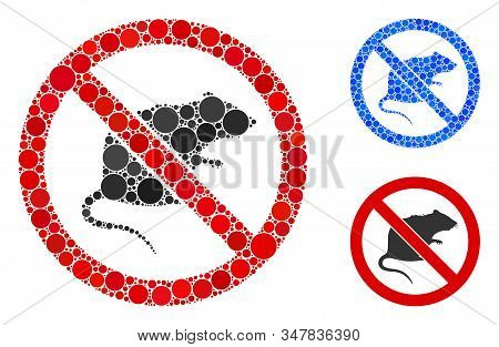 No Rats Composition Of Round Dots In Variable Sizes And Color Tones, Based On No Rats Icon. Vector D