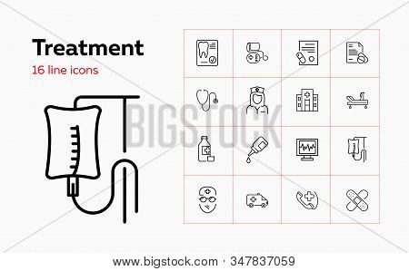Treatment Icons. Set Of Line Icons. Surgeon, Hospital, Icu Room, Medication. Medical Service Concept