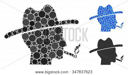 Cigarette Smoker Mosaic Of Filled Circles In Different Sizes And Color Tones, Based On Cigarette Smo