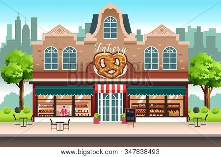 A Vector Illustration Of French Bakery Shop Store Building