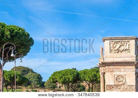Arch Of Constantine Or Arco Di Costantino Or Triumphal Arch In Rome, Italy Near Coliseum.
