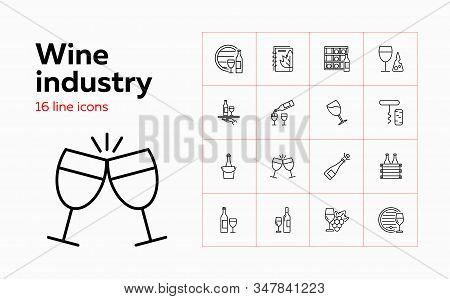 Wine Industry Icons. Set Of Line Icons On White Background. Wine Storage, Champagne, Corkscrew. Alco
