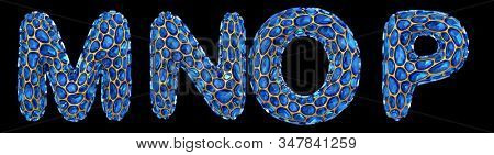 Letter set M, N, O, P made of realistic 3d render blue diamond. Collection of Diamond alphabet isolated on black background