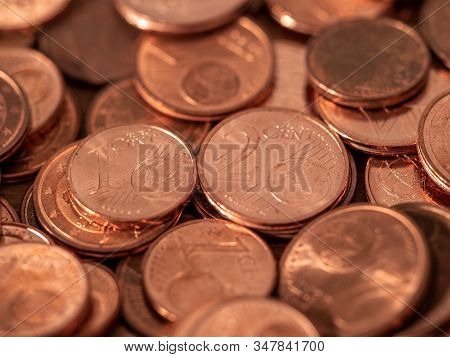 Image Full Of Euro Cents, Copper Coin, One And Two Cents Coin Will Be Dismissed By Ecb
