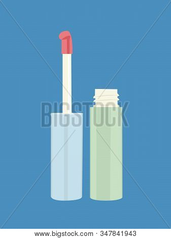 Lip Gloss Vector Illustration Isolated Blue Background Blue Background