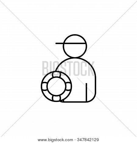 Watchman, Professional, Swimmer, Sea, Beach Line Icon On White Background