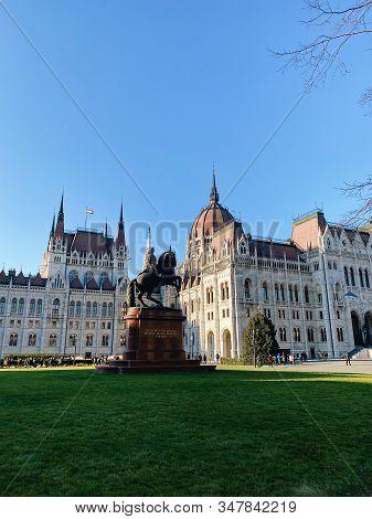 Budapest, Hungary - January 1, 2020: Statue Of Ferenc Rakoczi Near Hungarian Parliament Building In