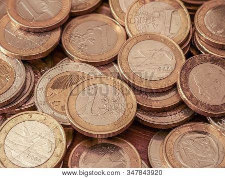 Close-up Image Of One And Two Euro Coins