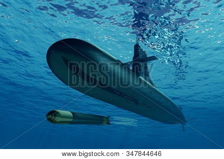 A submarine and a torpedo in the sea .3d render