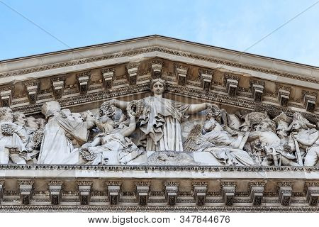 Paris, France - August 30, 2019: This Is A Sculptural Group On The Pediment Of The Pantheon, In Whic