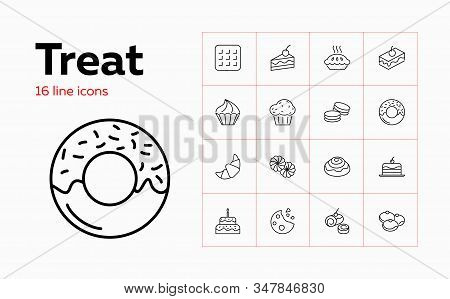 Treat Icons. Set Of Line Icons On White Background. Sweet Food, Pastry, Bakery. Homemade Food Concep