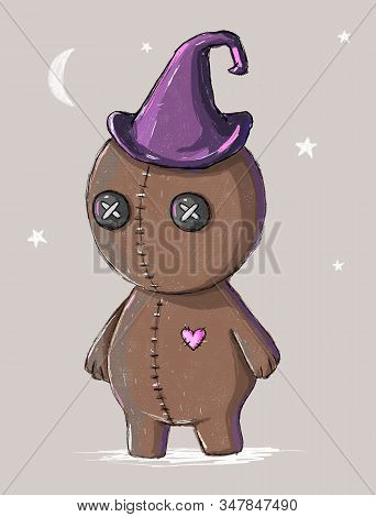 Lovely Hand Drawn Illustration With Cute Scarecrow Doll. Halloween Art With Funny Fright Isolated On
