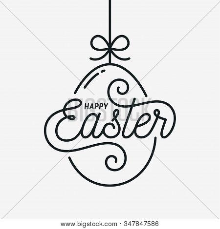 Easter Egg Card. Happy Easter Linear Egg On White