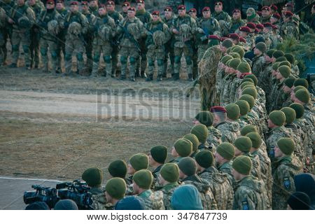 Zhytomyr, Ukraine - November 21, 2018: National Armed Forces, Military Parade. Military Equipment An