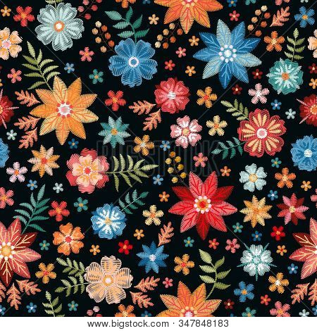 Embroidery Seamless Pattern With Colorful Summer Flowers On Black Background. Fashionable Print For