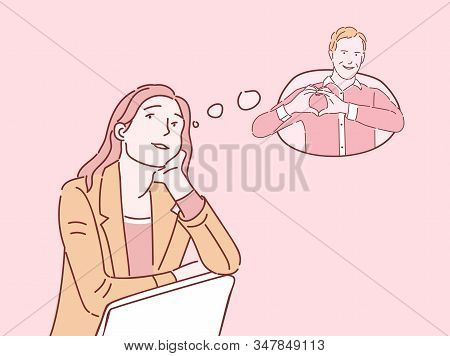 Girl Thinking About Boyfriend Flat Illustration. Young Woman Imagining Sweetheart, Romantic Dreaming