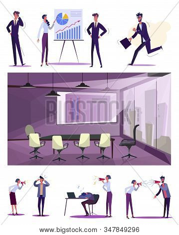 Employees Efficiency Set. Lazy Worker Late For Work, Sleeping At Workplace, Meeting Room. Flat Vecto