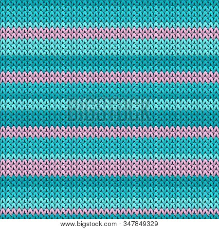 Closeup Horizontal Stripes Knitted Texture Geometric Vector Seamless. Fair Isle Sweater Knitwear Fab