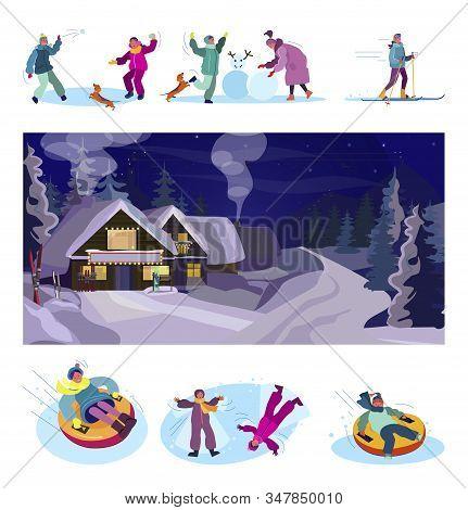 Winter Recreation Set. Children Skiing, Playing Snowballs, Having Fun, Mountain Ski Resort. Flat Vec