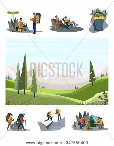Adventure Travel Set. Tourists Trekking, Camping, Sleeping Outdoors Mountain Landscape. Flat Vector