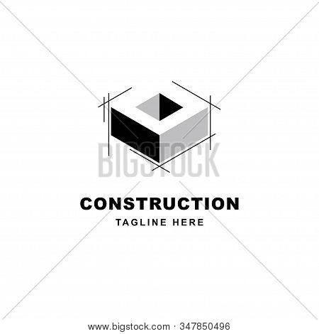 Construction Logo Design With Letter O Shape Icon. Initial Letter O On Building Symbol
