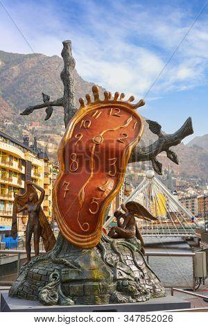 ANDORRA LA VELLA, ANDORRA - February 23, 2017: Salvador Dali sculpture Noblesse du Temps are in Rotonda Square the artist donated the artwork in 1999 to Enric Sabater. Sculpture is made of bronze.