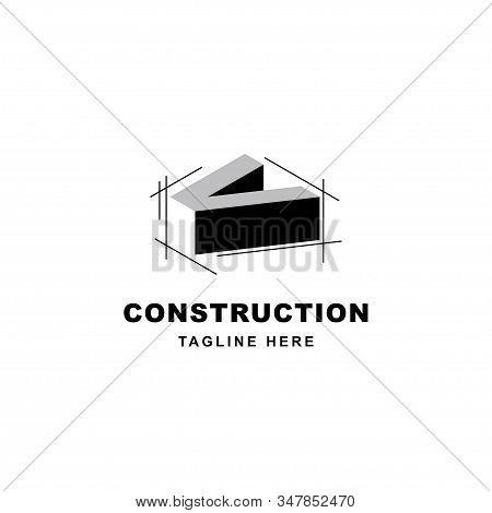 Construction Logo Design With Letter V Shape Icon. Initial Letter V On Building Symbol