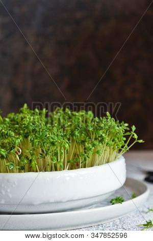 Watercress In A Plate On The Kitchen Table.