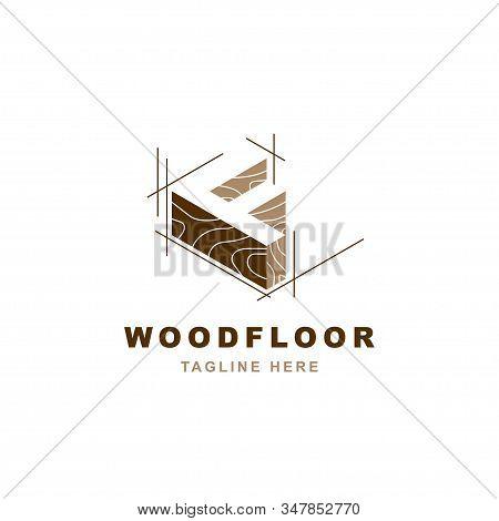 Wood Logo With Letter F Shape Illustration Vector Design Template