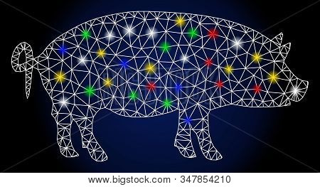 Glowing Mesh Swine With Glitter Effect. Abstract Illuminated Model Of Swine. Shiny Wire Carcass Poly
