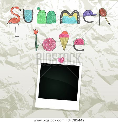 Summer doodle text on wrinkled paper with empty photo frame, vector eps10 illustration