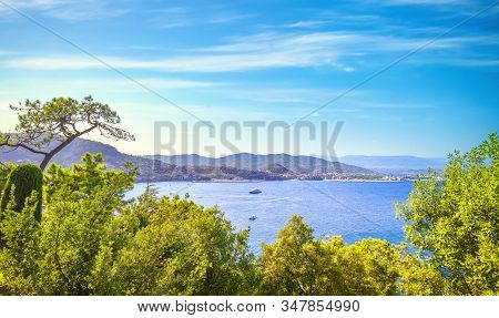 Cannes And La Napoule Panoramic Sea Bay View, Yachts And Boats From Theoule Sur Mer. French Riviera,