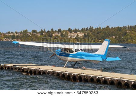 Lake Washington, Redmond. Usa. Seaplane Prepared For Take-off.
