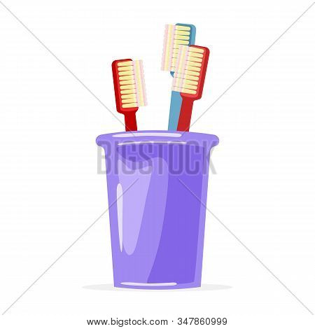 Two Red And Blue Toothbrushes Are In Violet Glass. Family Toiletries, Personal Hygiene Items. Oral C