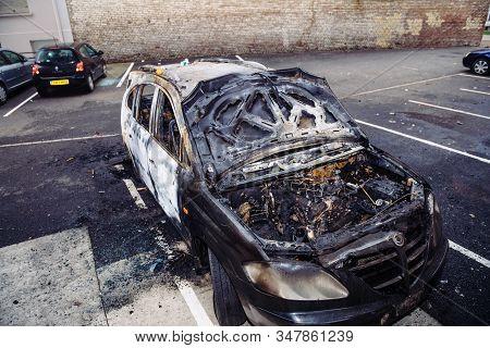 Strasbourg, France - Jan 1, 2020: Overhead View Of Burnt Car As Vandals In Strasbourg, France, Marke