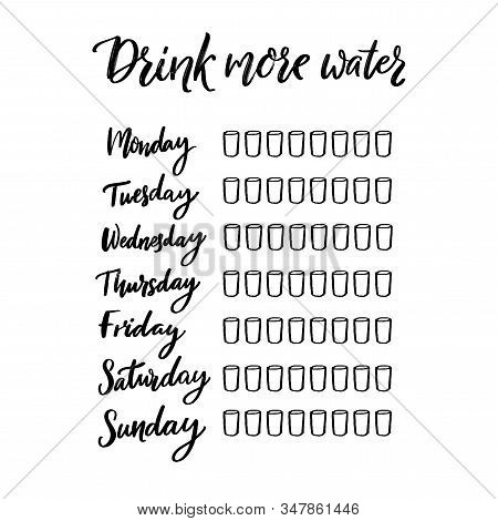 Simple Water Tracker With 8 Glasses Every Day Of Week. Black Handwritten Text, Printable Journal Pag