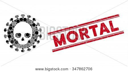 Mosaic Mortal Virus Icon And Corroded Stamp Seal With Mortal Phrase Between Double Parallel Lines. M