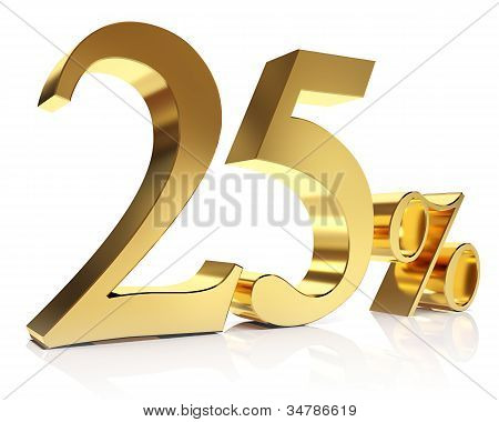 Twenty five percent 3D in gold