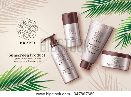 Sunscreen Cosmetic Product Vector Banner. Sunscreen Mock Up Bottle Element Of Whitening Lotion, Ultr