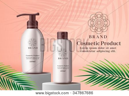Cosmetic Product Vector Advertising Banner. Cosmetics Mock Up Bottle Of Whitening Lotion And Sun Pro