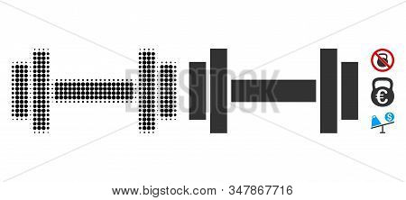 Barbell Halftone Vector Icon And Solid Version. Illustration Style Is Dotted Iconic Barbell Icon Sym