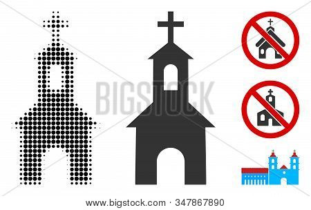 Catholic Kirch Halftone Vector Icon And Solid Version. Illustration Style Is Dotted Iconic Catholic