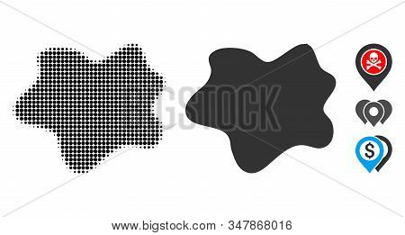 Dirt Spot Halftone Vector Icon And Solid Version. Illustration Style Is Dotted Iconic Dirt Spot Icon
